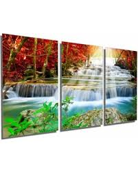 cascading forest waterfall metal print wall art 3 panel split triptych 60x30 on waterfall metal wall art with don t miss this bargain cascading forest waterfall metal print
