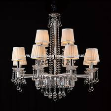 china e14 candle chandelier crystal for home lighting chandelier pendant light with 6 fabric shades