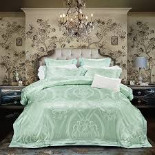 exotic sparkle mint green and white bohemian gothic pattern tribal print shabby chic luxury jacquard satin full queen size bedding sets