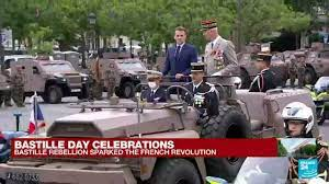 Emmanuel Macron arrives at the Champs ...