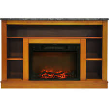 seville 47 in electric fireplace with 1500w charred log insert and a v storage mantel in teak cam5021 1tek