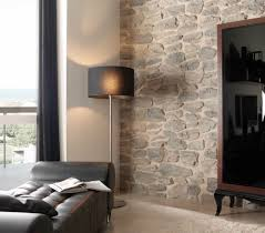 faux stone panels by genstone siding with floor lamp and cozy sofa for interior design ideas