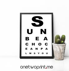 Eye Chart Print Snellen Eye Chart Printable Wall Art Eye Test Chart Snellen Chart Eye Test Summer Print Medical Art Typograpy Print Medical
