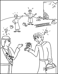 Small Picture Sunday School Coloring Page Confusion at the Tower of Babel