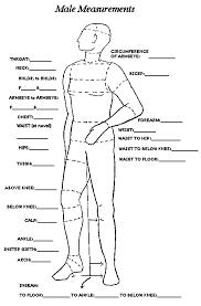 Mens Measurement Chart Mens Measurements Sewing Men