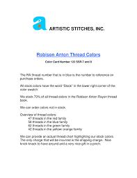 Artistic Stitches Inc Robison Anton Thread Colors