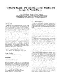 pdf facilitating reusable and scalable automated testing and ysis for android apps