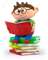 cute little cartoon boy sitting on books reading high quality 3d ilration stock ilration