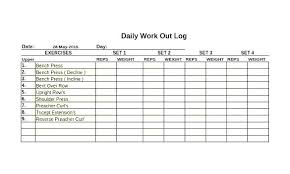 Food And Exercise Trackers Weekly Workout Log Template Free Health Tracker Printable