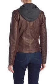 sebby women whiskey faux leather knit hooded jacket sl8517 jromuok