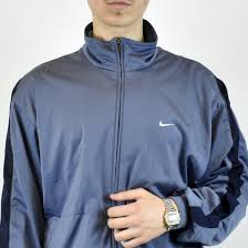 Light Blue Nike Jacket Unisex Vintage Nike Tracksuit Track Jacket In Light Blue And Navy Blue Size L