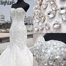rhinestone wedding dress. Shiny Heavy Beaded Luxury Crystal Wedding Dress Mermaid Vintage