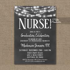 Nursing Graduation Party Invitations Nurse Graduation Invitation Chalkboard Lights Printed