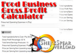 food percentage calculator food business gross profit calculator