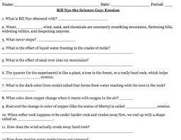 Bill Nye Video Worksheets Erosion In Resume with Bill Nye Video Worksheets  Erosion