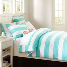 country teen bedroom design with teal white striped cottage duvet cover twin size white wooden bed frame twin size white wooden bed frame