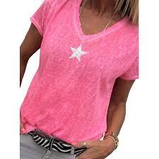 Womens Plus Size Short Sleeve V Neck Tops