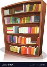 cartoon library bookshelf vector image