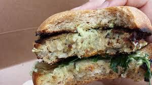 seitan mushroom burger at garden grille cafe in pawtucket