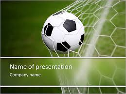 Soccer Ball In The Net The Goal Powerpoint Template Backgrounds