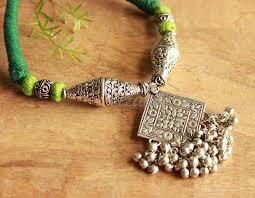 green statement pendant designer handmade necklace