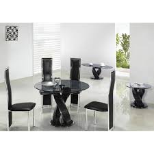 giomani twin twirl round glass dining table in black or clear glass