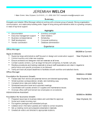 Cover Letter Resume Samples For Office Manager Resume Samples For