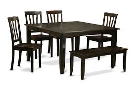 6 piece dining room set with bench table with leaf and 4 kitchen chair set