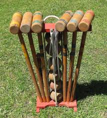 nice vintage wooden croquet set for 6 with stand to expand