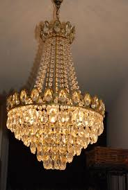 chandelier set with cut glass crystal