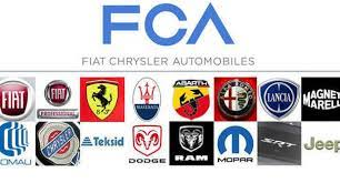 fiat chrysler logo. the historical brand fiat is now called fiat chrysler automobiles after merging of and a new logo made from letters fca rendered