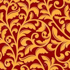 Gele Bloemen Naadloos Patroon Op Rode Achtergrond Met Twisted