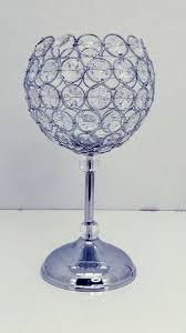 crystal beaded scarlett candle holder goblet 12 1 2
