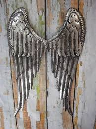 small metal angel wings hanging wall decor rustic distressed vintage