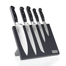 ross henery professional 5 piece premium stainless steel kitchen knife set on a stylish