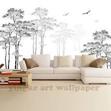 custom 3d photo wallpaper black white sketch simple abstract tree birds wall wallpaper lobby restaurant mural papel de parede