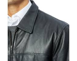 excelled men s leather shirt collar jacket