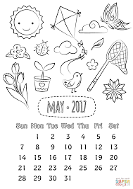 Small Picture May 2017 Calendar coloring page Free Printable Coloring Pages
