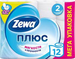 <b>Туалетная бумага Zewa Плюс</b> Белая, 2 слоя, 12 рулонов