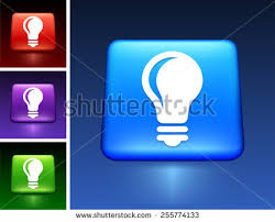vector square blue icon lighting bulb. light bulb on blue square button vector icon lighting t