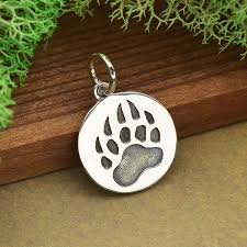 sterling silver bear claw charm etched