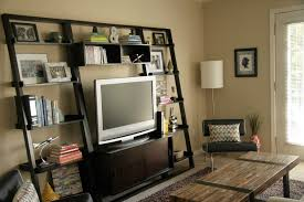Small Bedroom Tv Charming Small Bedroom Color Ideas 3 Ladder Shelves Tv Stand