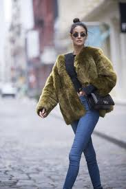 sofia resing seen wearing a green faux fur coat in the streets of manhattan nyc