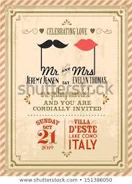 Vintage Wedding Invitation Card Template Vectorillustration Stock