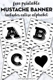 Mustache Alphabet Banner Free Printable Letters Numbers