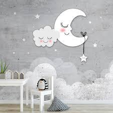 Behang Babykamer Sterren Maan En Wolken Grijs