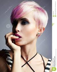 Short Hair Girl Colorful Dyed Hair Stock Photo Image Of Beauty