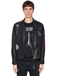 the kooples orlinski co lab leather biker jacket black multi