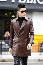 plus size 4xl long leather coat men leather jacket fashion 2016 new men s jackets coats male outerwear black
