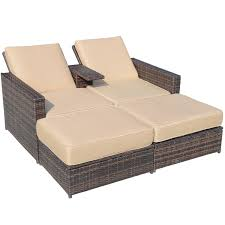 Rattan Chaise Lounge Chairs For Indoors With Sunbrella Cushions